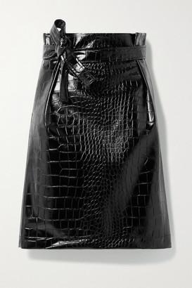 Philosophy di Lorenzo Serafini Belted Croc-effect Vegan Patent-leather Skirt - Black