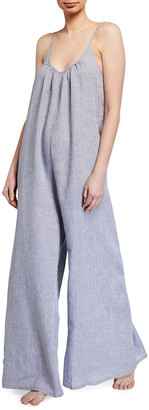 POUR LES FEMMES Wide-Leg Linen Jumpsuit