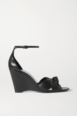 Saint Laurent Bianca Knotted Leather Wedge Sandals - Black