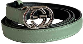 Gucci Interlocking Buckle Green Leather Belts