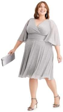 SL Fashions Plus Size Metallic Fit & Flare Dress