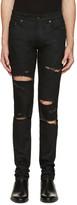 Saint Laurent Black Original Low Waisted Destroyed Skinny Jeans