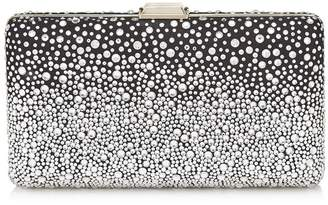 Jimmy Choo CLEMMIE Black Suede Clutch Bag with Silver Degrade Crystal Hotfix