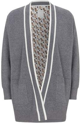Sandro Striped Trim Cardigan