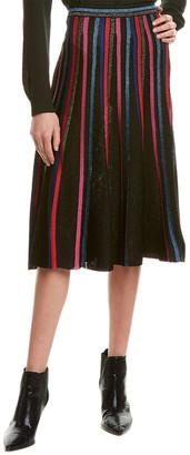 St. John Metallic A-Line Skirt
