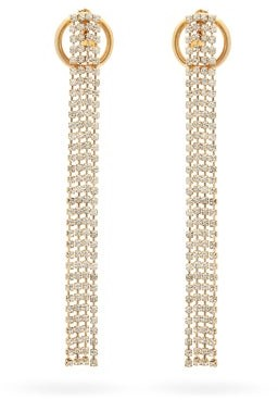 Rosantica Abaco Fringed Crystal Drop Earrings - Crystal
