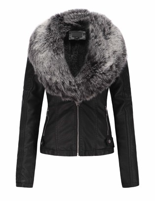 Bellivera Women's Faux Leather Short Jacket Moto Jacket with Detachable Faux Fur Collar Blackgray Small