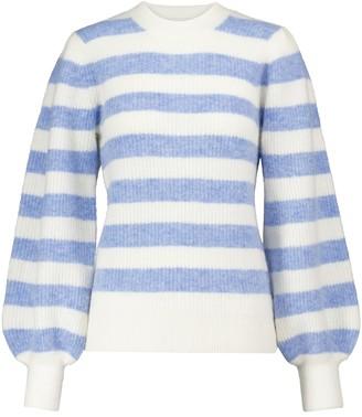 Ganni Striped alpaca and merino wool-blend sweater