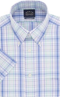 Eagle Men's Short Sleeve Dress Shirt Regular Fit Non Iron Stretch Collar Check