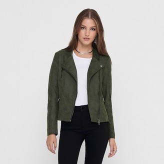 Only Short Zip-Up Biker Jacket in Faux Suede