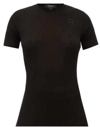 Rochas Logo-applique Ribbed-cotton Top - Womens - Black