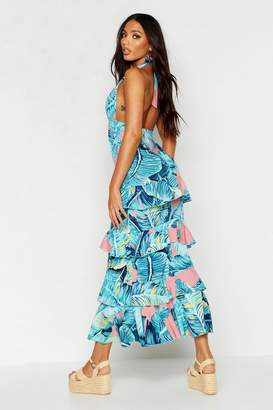 boohoo Halter Neck Palm Print Ruffle Maxi Dress