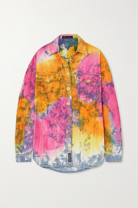 Versace Oversized Tie-dyed Denim Shirt - Blue