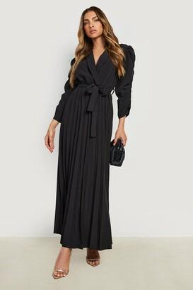 boohoo Puff Sleeve Pleated Skirt Midi Dress