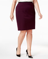 Calvin Klein Plus Size Faux-Leather-Trim Straight Skirt