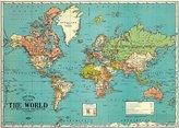 Cavallini & Co. Cavallin World Map 1930's Vintage design, New Poster Wrap