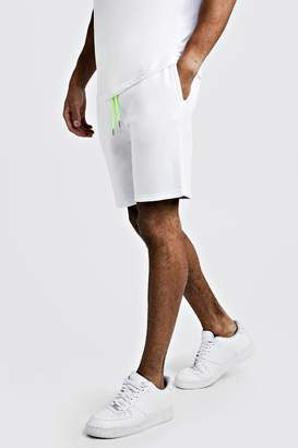 boohoo Plain Mid Length Shorts With Neon Draw Cords