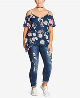 City Chic Trendy Plus Size Floral-Print Off-The-Shoulder Tunic