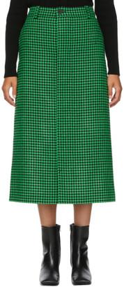 Balenciaga Green and Black Wool Houndstooth Skirt