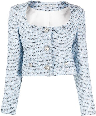 Alessandra Rich Single-Breasted Tweed Jacket