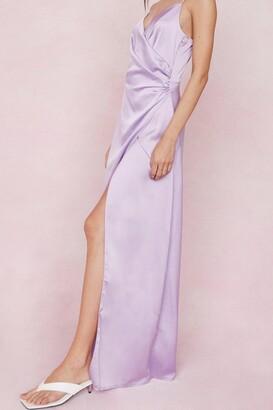 Nasty Gal Womens Satin V Neck Slit Maxi Dress - Black - 12