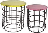 Soundslike HOME Nesting Tables Railway Yellow & Pink Side Table (Set of 2)