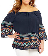 Bobeau Plus Off-The-Shoulder Multi Color Aztec Embroidered Top
