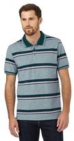 Maine New England Green Striped Print Polo Shirt