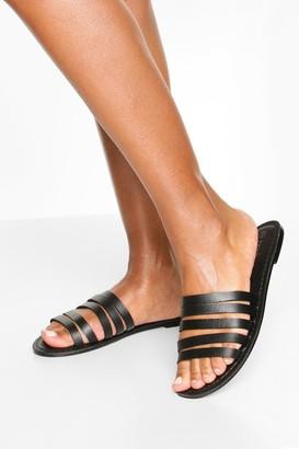 boohoo Leather Multi Strap Sandals
