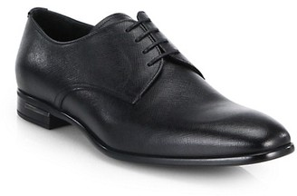 Prada Spazzolato Saffiano Leather Derby Loafers
