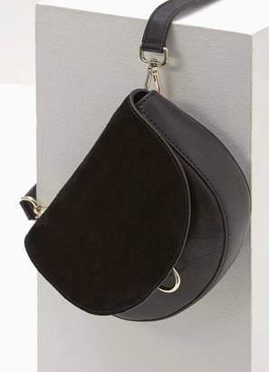 Mint Velvet Sam Black Leather Saddle Bag