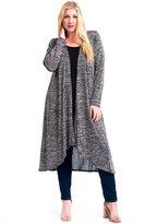 12 Ami Plus Size Basic Knit Solid Long Sleeve Maxi Cardigan XXL