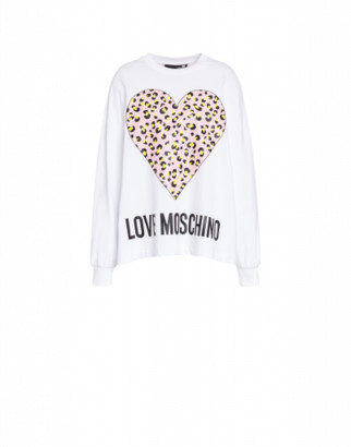Love Moschino Sweatshirt Leopard Heart Woman White Size 38 It - (4 Us)