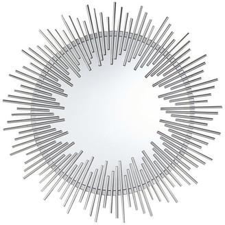 Gdfstudio Laraine Modern Industrial Metal Sunburst Wall Mirror, Silver