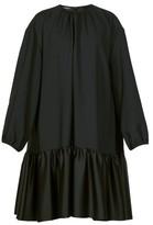 Rochas Tie-back Gathered Crepe Dress - Womens - Black