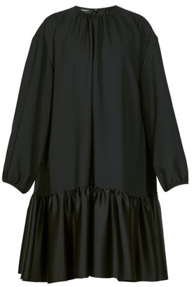 Rochas Tie-back Gathered Crepe Dress - Womens - Black