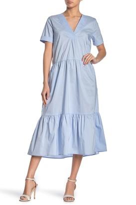 MelloDay Tiered Poplin Midi Dress