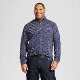 Merona Men's Big & Tall Long Sleeve Button Down Shirt Navy Print
