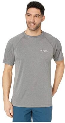 Columbia PFG Terminal Tackletm Short Sleeve Shirt (Charcoal Heather/Cool Grey Logo) Men's T Shirt