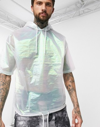 Asos DESIGN oversized hooded t-shirt with half sleeve in iridescent woven fabric