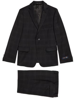 Hart Schaffner Marx Plaid Stretch Wool Suit