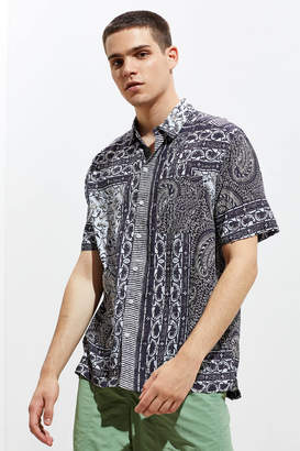 Urban Outfitters Placed Batik Rayon Short Sleeve Button-Down Shirt