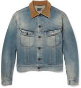 Saint Laurent - Corduroy-trimmed Washed-denim Jacket