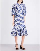 Co Floral guipure-lace midi dress