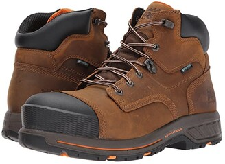 Timberland Helix 6 HD Composite Safety Toe Waterproof BR (Distressed Brown Full Grain Leather) Men's Work Lace-up Boots