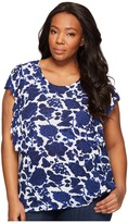 Lucky Brand Plus Size Floral Flutter Top