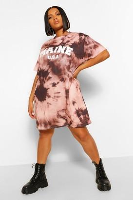 boohoo Plus Tie Dye Graphic T-Shirt Dress