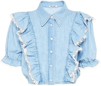 Miu Miu Ruffle-Trim Denim Shirt