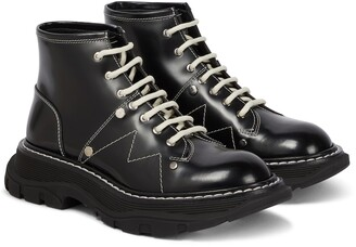 Alexander McQueen Tread patent leather ankle boots