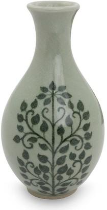 Novica Handmade Bodhi Tree Celadon Ceramic Bud Vase